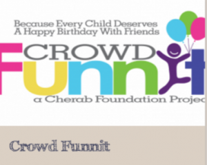 "crowdFunnit.org ""Because every child deserves a happy birthday with friends"""